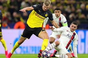 Detalj s utakmice Borussia (D) - PSG - Duel Erlinga Brauta Halanda i Marca Verrattia EPA