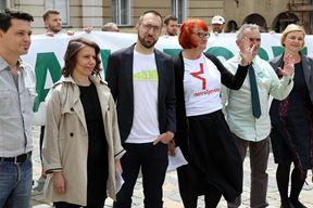 Koalicija stranaka koju čine Možemo: Tomislav Tomašević, Sandra Benčić, Rada Borić, Katarina Peović, Zorislav Antun Petrović (Snimio Damjan Tadić/Cropix)