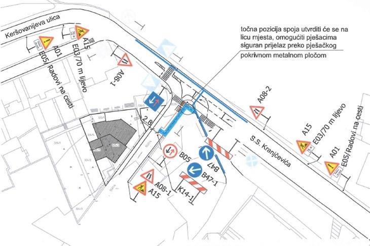 Prikaz regulacije prometa  u Kranjčevičevoj ulici