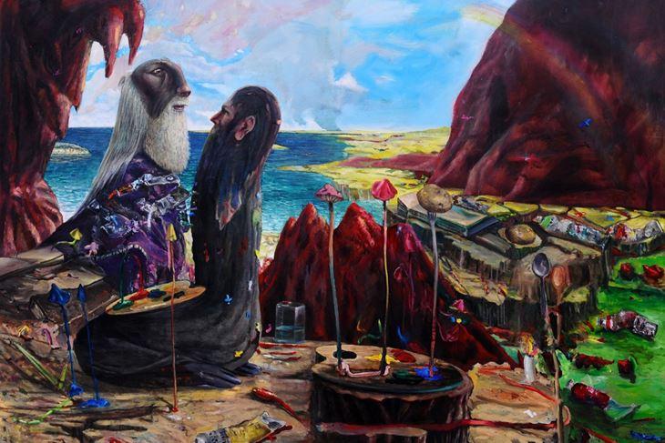 """B. Šumonja, M. Jakše """"Il pittore pregha il dio per gli colori ad olio"""", 2017."""