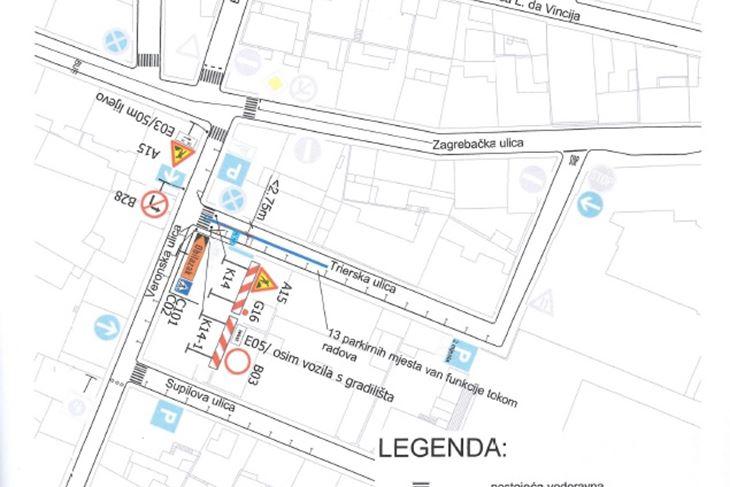 Privremena regulacija prometa u Trierskoj ulici
