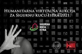 Plakat humanitarne virtualne aukcije Udruge MedulinArt za Sigurnu kuću Istra 2021.