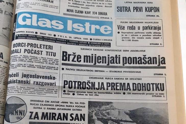 Naslovnica Glasa Istre iz 1980. godine