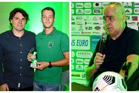 Predsjednik NSŽI-ja Darko Raić Sudar je nagradu za najboljeg igrača prošle sezone uručio Robertu Dadiću / Remzo Zalihić, predsjednik NK Rudara