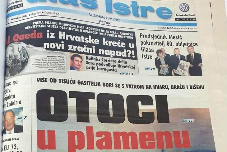 Naslovnica Glasa Istre iz 2003. godine